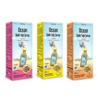 Ocean Balık Yağı Şurup 3'lü Paket Portakal+Limon+Karışık Meyve